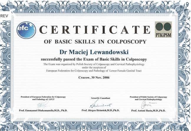 koloposkopia - certyfikat dr Macieja Lewandowskiego